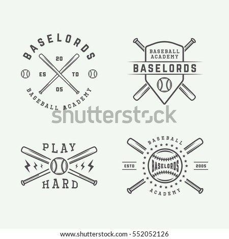 Vintage baseball logos, emblems, badges and design elements. Vector illustration. graphic Art.