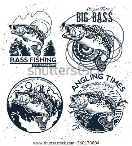 vintage bass fishing emblems...