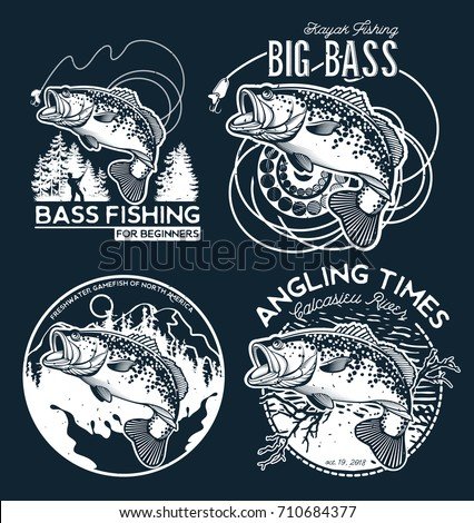 Vintage Bass Fishing Emblems and Labels. Vector Illustration
