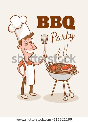 vintage bbq party illustration. ...
