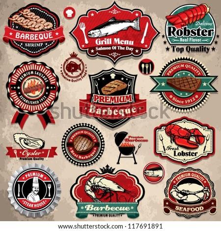 Vintage BBQ seafood steak labels, icons, badges template set