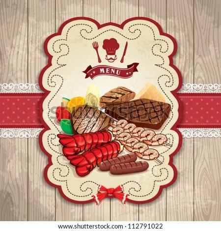 Vintage BBQ steak prawn lobster label set template - stock vector