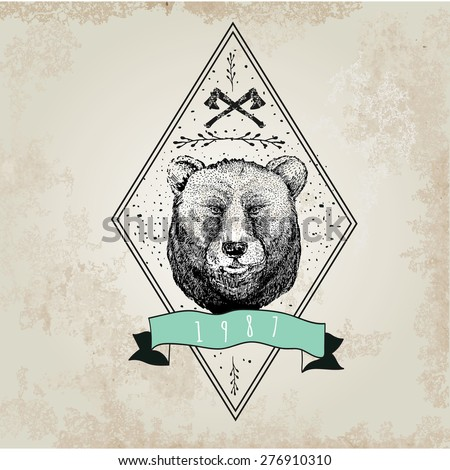 vintage  bear logo. design for...