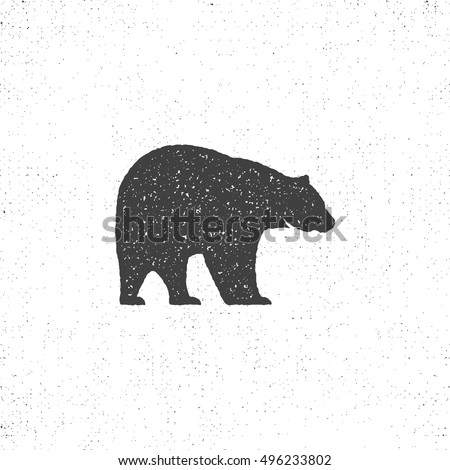 Vintage bear mascot, symbol or icon in rough silhouette style, monochrome design. Can be used for T-shirts print, labels, badges, stickers, logotypes. Vector illustration