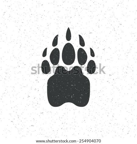vintage bear paw mammal symbol