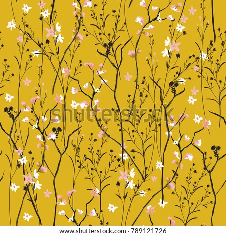 Vintage Beautiful and trendy Seamless Pattern wind blow flowers,  Isolated on summer amber color. Botanical Floral Decoration Texture. Vintage Style Design for Fabric Print, Wallpaper Background.