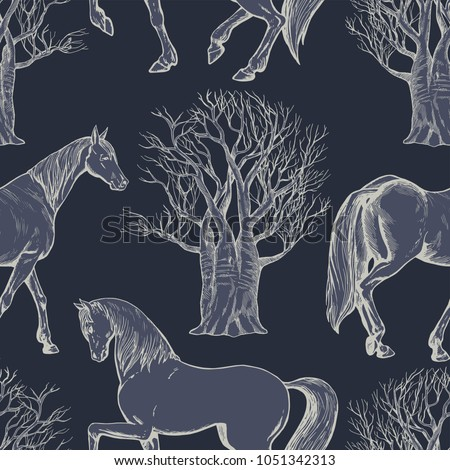 Stock Photo Vintage beautiful background with horses and trees, creative forest, retro seamless pattern, art fabric, fantasy vector print, wallpaper for decoration and design