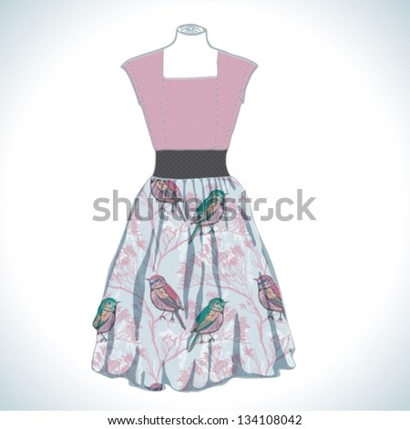 Vintage beautiful dress with natural pattern, vector