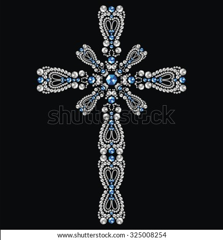 Vintage beautiful ornate Christian Cross from brilliant stones, silver and sapphires. Rhinestone applique, decoration for clothing. Christmas winter cards (abstract vector art illustration)