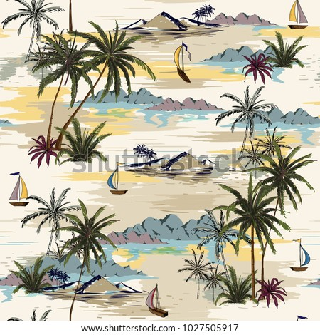 Vintage Beautiful seamless island pattern  Landscape with palm trees,beach and ocean vector hand drawn style on light beige color background.
