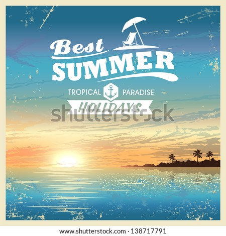 Vintage beautiful sunset seaside background