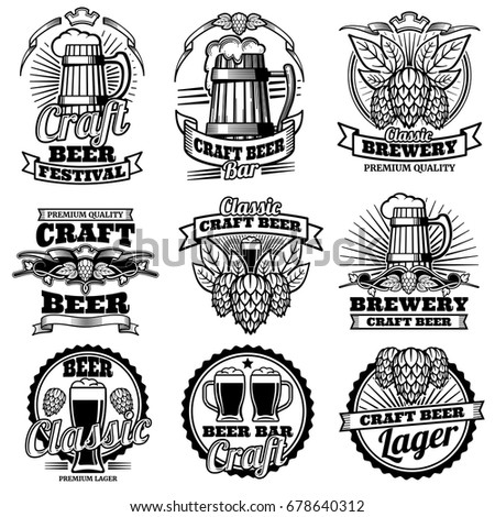 Vintage beer drink bar vector labels. Retro brewery emblems and logos with hops and mug. Brewery drink emblem beer illustration
