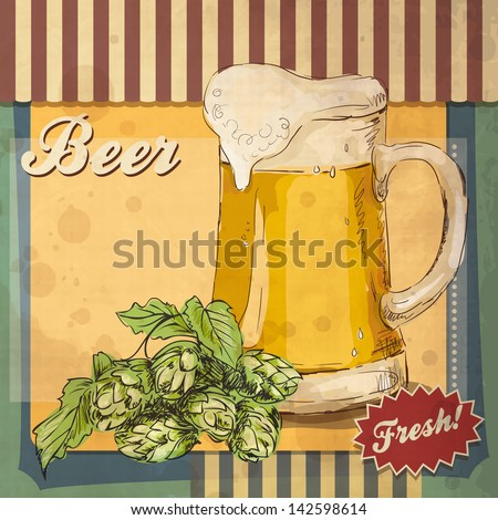 vintage beer food poster drink vector art antique invite grunge hand drawn retro card vector design with beer good as a template of advertisement vintage beer food poster drink vector art antique invi