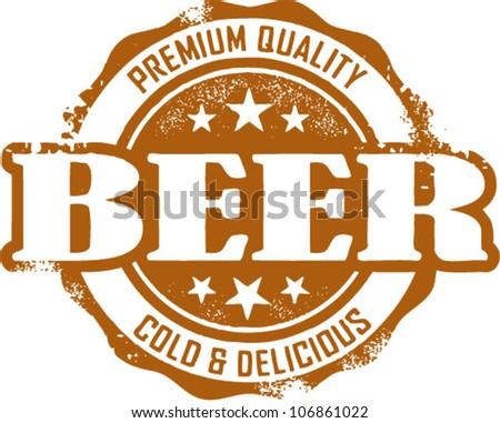 Vintage Beer Restaurant Menu Stamp
