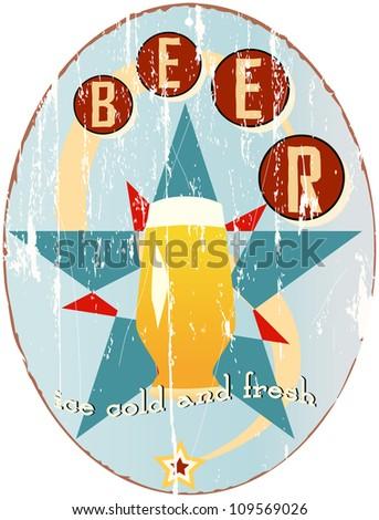 vintage beer sign, vector illustration