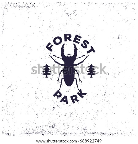 Vintage beetle deer with forest, retro badge or grunge logo for decorating the campsite or for printing on a T-shirt, vector illustration