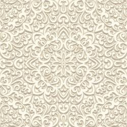 Vintage beige background, vector floral swirls, seamless pattern in light color