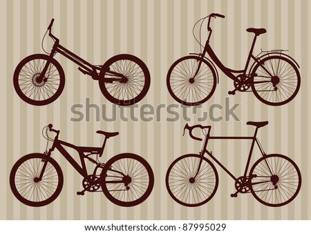 Vintage bicycle illustration collection - stock vector