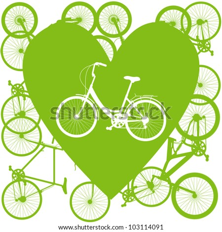 Vintage bicycle illustration love concept vector