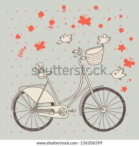 vintage bicycle in vector