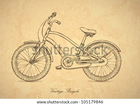 Vintage bicycle - vector illustration in the retro style