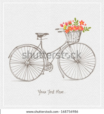 VINTAGE BICYCLES WITH BASKET FULL OF FLOWERS. Vector illustration file.