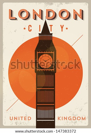Vintage Big Ben Poster London City