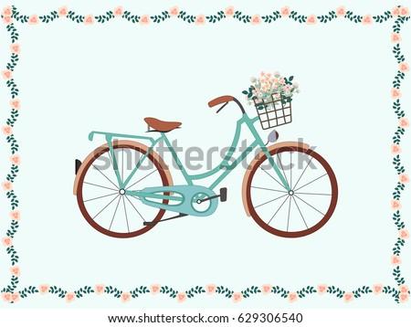 vintage bike floral frame
