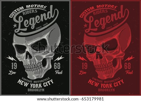 Vintage Biker graphics and Emblem with grunge background.