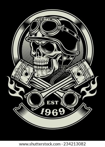 vintage biker skull with