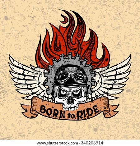 vintage biker skull with wings