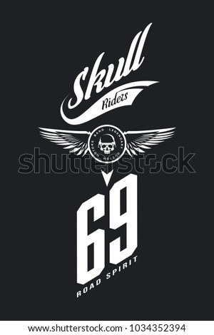 Vintage bikers club vector t-shirt logo isolated on dark background. Premium quality skull in helmet logotype tee-shirt emblem illustration. Street wear legendary rider old retro tee print design.
