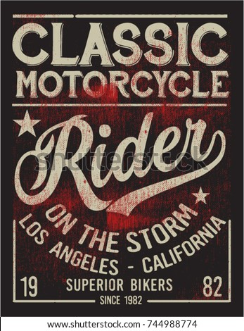 Vintage bikers graphics and Emblem with grunge background.