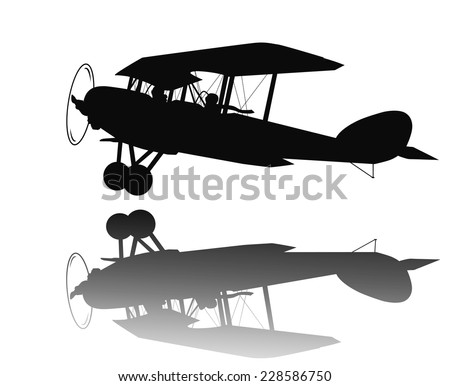 Vintage Biplane Taking Off Detailed Vector Silhouette