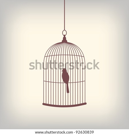 vintage bird cage with single
