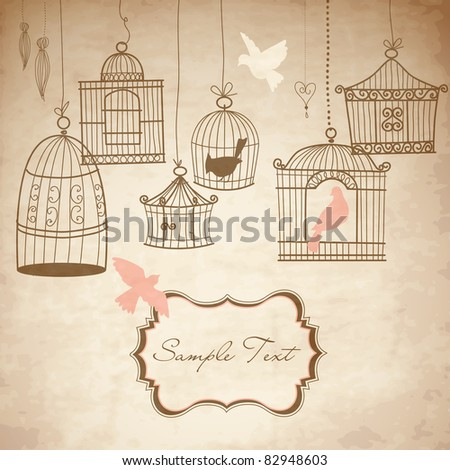 Vintage bird cages. Birds out of their cages concept vector - stock vector