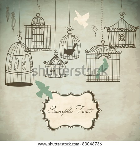 vintage bird cages birds out