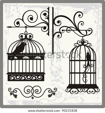 vintage bird cages with