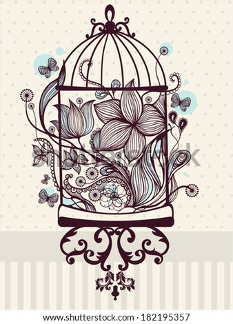 Vintage birdcage with flowers