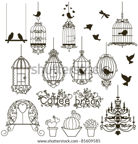 Vintage birds and birdcages collection Isolated on white Clipart Vector.