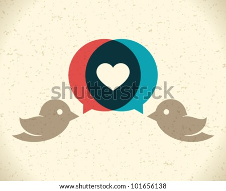 Vintage birds and heart set Vector design element