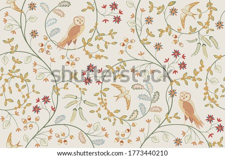 vintage birds in foliage with