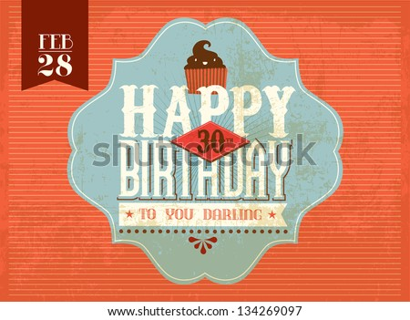 vintage birthday card/ sticker vector/illustration