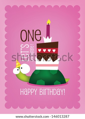 Vintage Birthday Card - Vector EPS10. with Funny Turtle ストックフォト ©