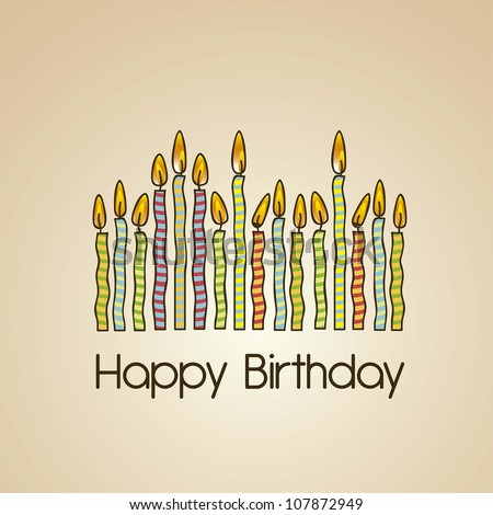 vintage birthday card with colored candles, vector illustration, Birthday card
