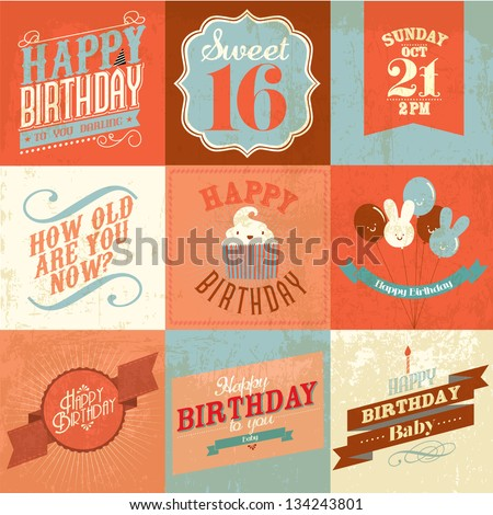 vintage birthday greeting card/ sticker vector/illustration