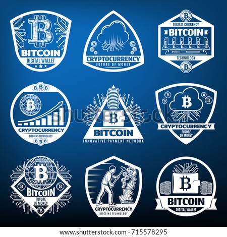 vintage bitcoin currency labels ...