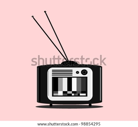 vintage black and white tv with test pattern and antenna