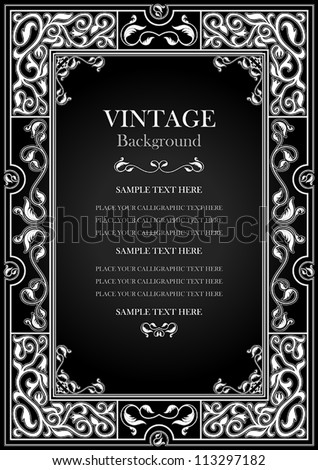 Vintage black background, antique white frame, victorian ornament, beautiful old paper, certificate, award, royal diploma, ornate cover page, floral luxury ornamental pattern, achievement template