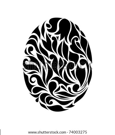Vintage black egg isolated on white background (vector version eps 8). Good for signs, logos, web, logotype.